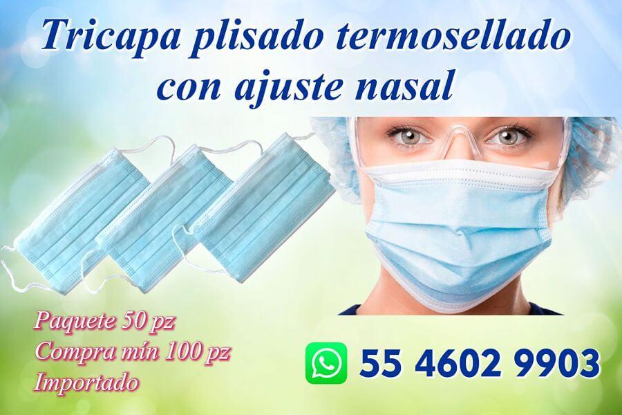Cubreboca tricapa, plisado, termosellado con ajuste nasal
