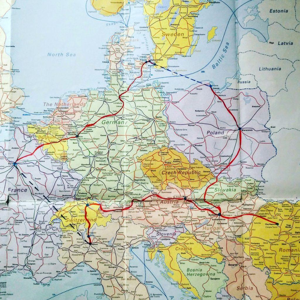 Carte itinéraire Interrail