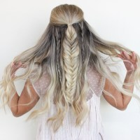 Half up Half down Fishtail Braid Tutorial