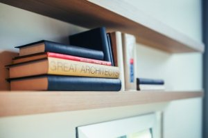 Two floating shelves. These types of shelves are great for storing your book collection.