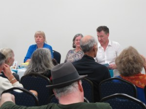 Vicki Delany, R.J. Harlick and C.B Forrest participate in a panel discussion in Lake County, Forida. March 2014.