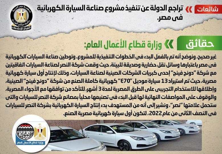 حقيقة تراجع الدولة عن تنفيذ مشروع صناعة السيارة الكهربائية في مصر