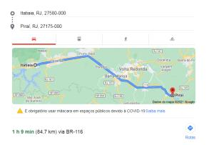 distância entre Itatiaia a Piraí
