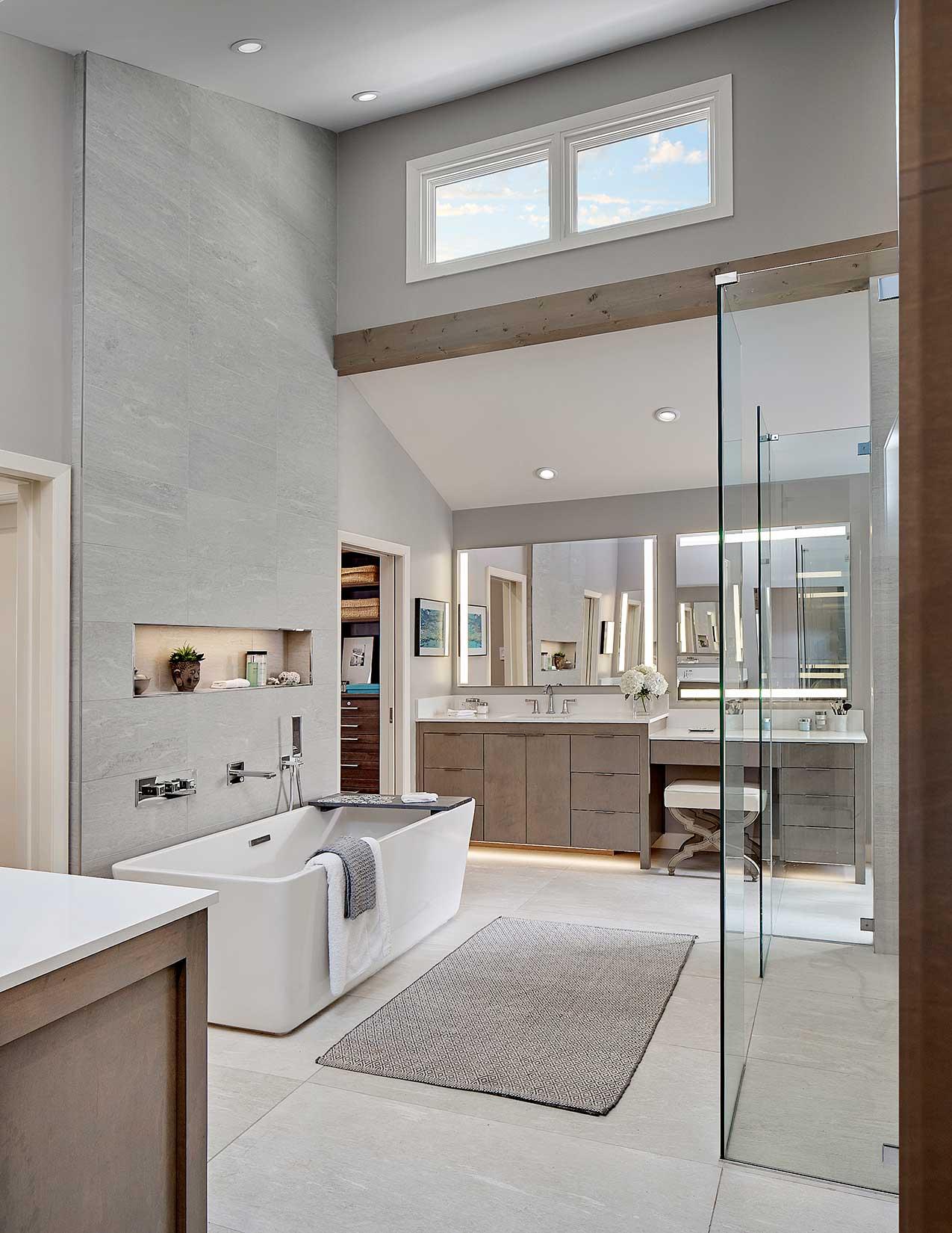 modern master bath and kids bath