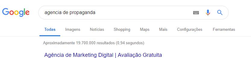 Pesquisa Agência de Propaganda Google