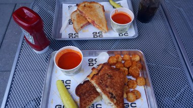 The French Onion with Crispy Tots & The Young American both with Tomato Soup