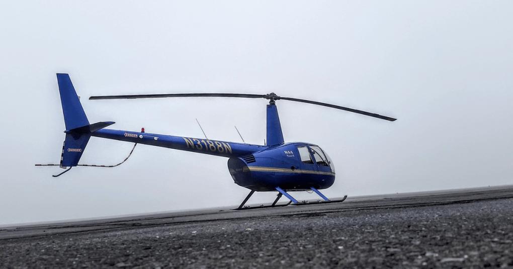 Robinson R44 in the fog