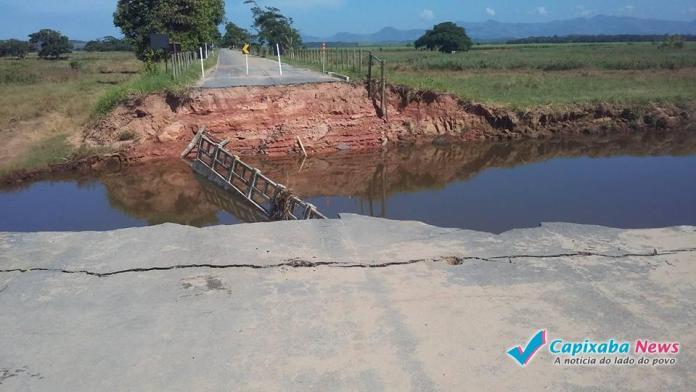 Rodovia terá desvio após desabamento de ponte por causa da chuva em Itapemirim
