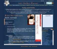 Fiche produit de la boutique en ligne Huiles rares, réalisé en 2007 par Cap Médiations. Photographies et illustrations de Serge Briez