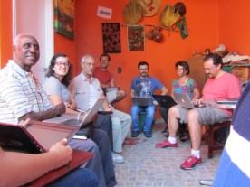 Reunião do CEACA contou com novos participantes: Roberta, Isis e Durval do Coco.