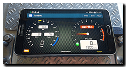 TuneECU app datalog via cable not Bluetooth on Samsung Galaxy Note 3 from Aprilia Caponord ETV1000 Rally-Raid