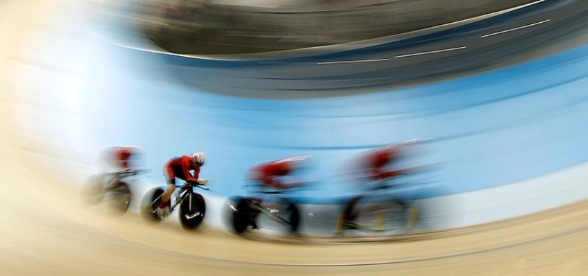 TORONTO, ON - JULY 16: The United States competes in the track cycling women's team pursuit qualification on Day 6 of the Toronto 2015 Pan Am Games on July 16, 2015 in Toronto, Canada. (Photo by Ezra Shaw/Getty Images)