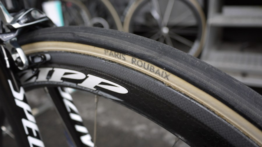 Boonen tested several tires in February. In the end he settled on cotton-casing FMB Paris Roubaix tires. They're marked 27mm but measured 28.2mm wide. Photo: Nick Legan