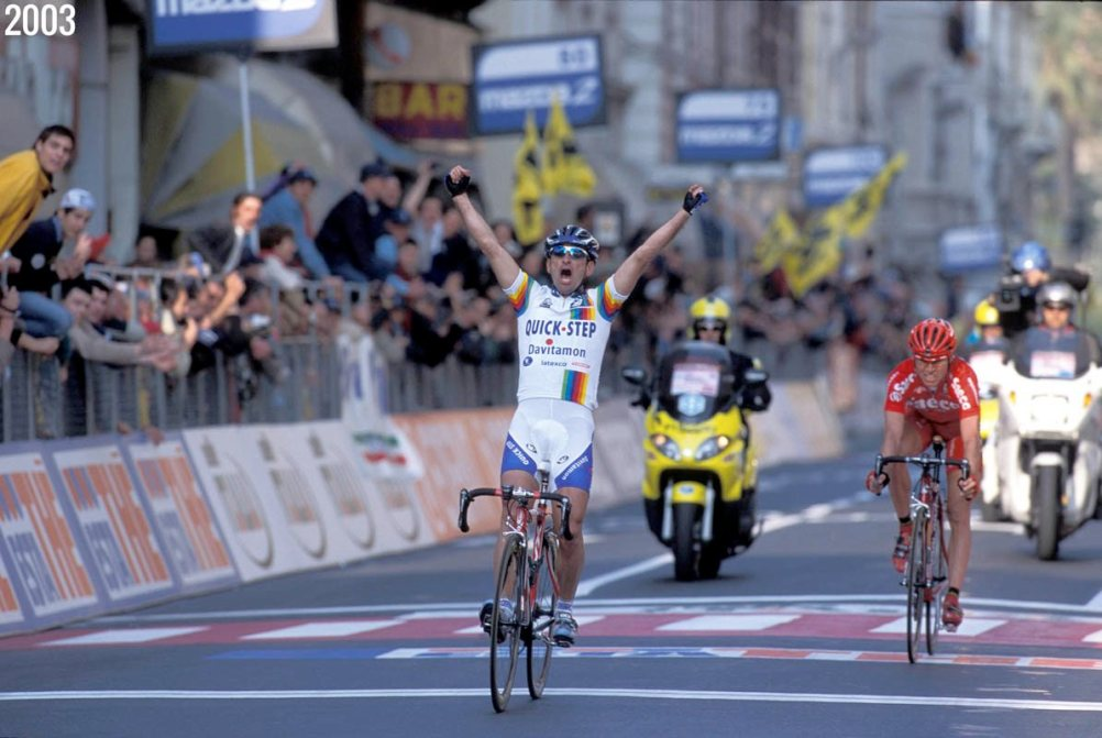22 March 2003 94th Milano - Sanremo 1st : BETTINI Paolo (ITA) Quickstep - Davitamon Photo : Yuzuru SUNADA