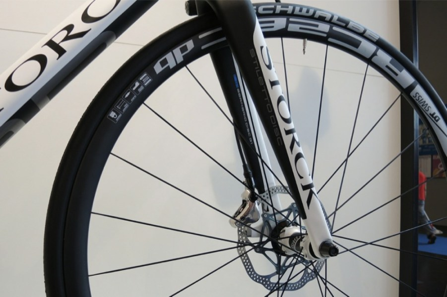 The Aernario Disc is designed around 140mm rotors to follow that aggressive theme. ThereÕs so much new road disc gear here, it will be keeping us busy all week, such as those brand new DT Swiss RC disc brake wheels. Photo: Logan VonBokel | VeloNews.com