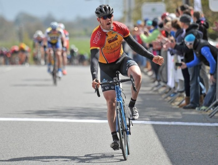 2nd of May, 2016; Marcus Christie, Omagh Wheelers CC, celebrates as he crosses the finish line to take vicotry on Stage 3 of the AmberGreen Energy Tour of Ulster. Moy, Co. Tyrone. Picture credit: Stephen McMahon / Tour of Ulster