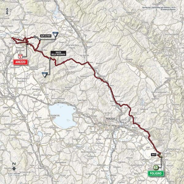 Giro-dItalia-2016-Stage-8-Foligno-to-Arezzo-route-map