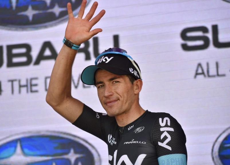 Sky team rider Sergio Henao of Colombia waves after receiving the king of the mountain jersey after stage five of the Tour Down Under cycling race from McLaren Vale to Willunga Hill in Adelaide on January 23, 2016. AFP PHOTO / DAVID MARIUZ IMAGE STRICTLY FOR EDITORIAL USE - STRICTLY NO COMMERCIAL USE / AFP PHOTO / DAVID MARIUZ