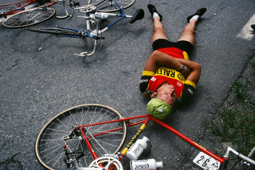Tour de France 1982. Belgian Ludo Peeters uses the stage 16 delay to catch up on some sleep. He won the first road stage of the Tour that year – one of three in his ten Tours de France. France. 1982.