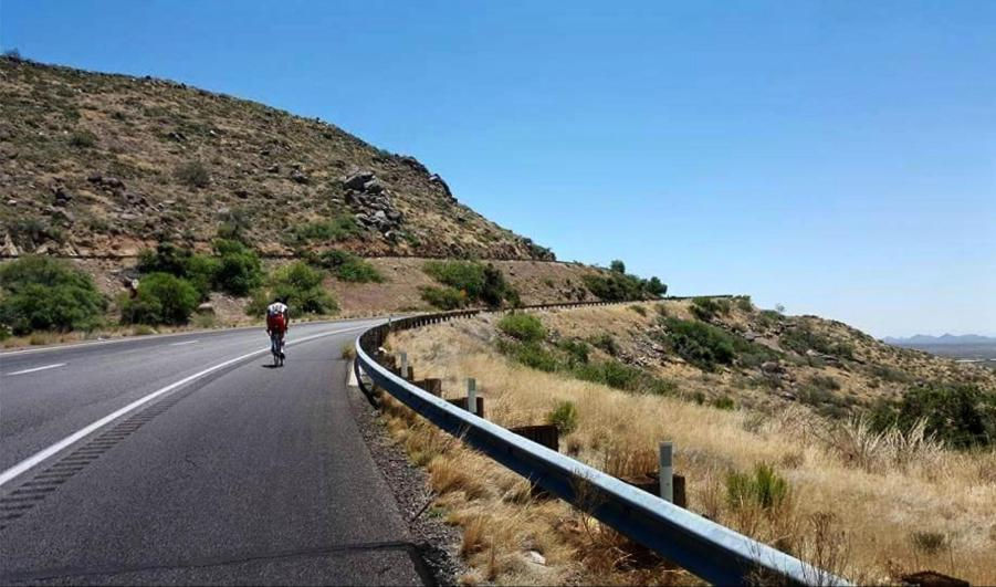 Haase climbs Yarnell Grade near Prescott, AZ. Lori Nickel story on Dave Haase and his RAAM 2015 trip. --- Credit: Jessica Gosdeck