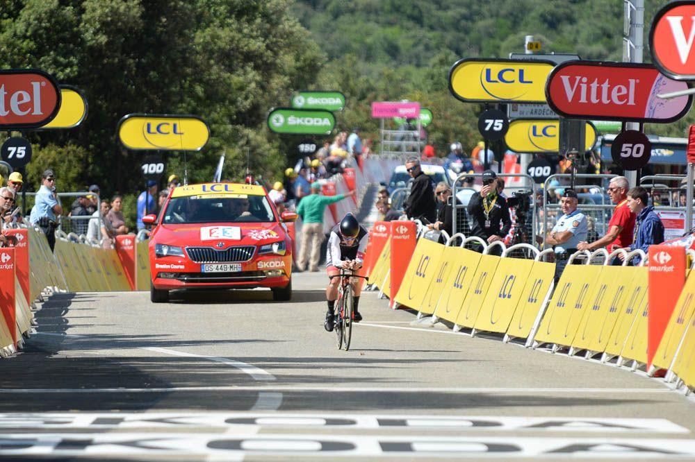 Tour de France 2016 - 15/07/2016 - Etape 13 - Bourg-Saint-Andéol/ La Caverne du Pont-d'Arc (37,5 km CLM) - Arrivée du premier partant de l'étape, Sam BENNETT (BORA-ARGON 18)