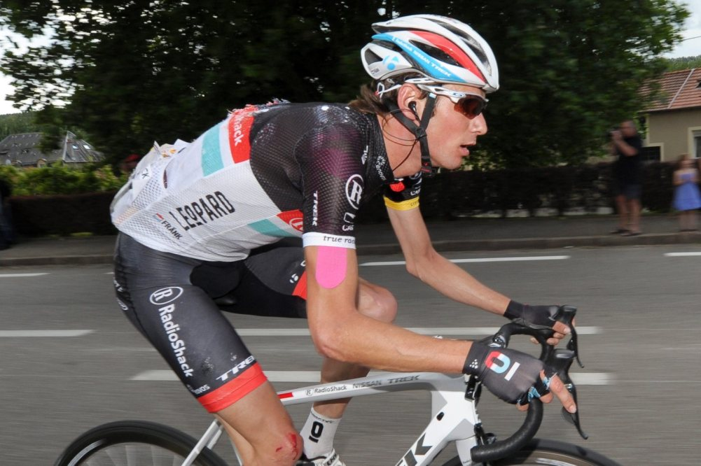 epa03297953 Luxembourg rider Frank Schleck of the Radioshack Nissan team in action during the 6th stage of the Tour de France 2012 cycling race between Epernay and Metz, France, 06 July 2012.  EPA/YORICK JANSENS BELGIUM OUT