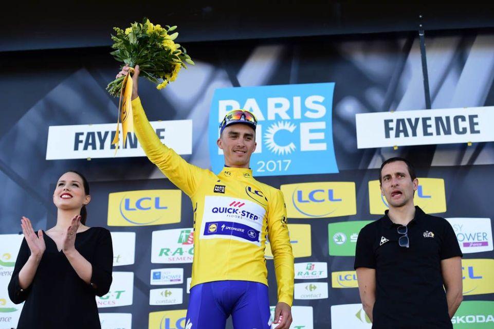 Paris-Nice 2017 - 10/03/2017 - Etape 6 - Aubagne / Fayence (193,5km) - Julian ALAPHILIPPE (QUICK - STEP FLOORS) - Avec le maillot Jaune