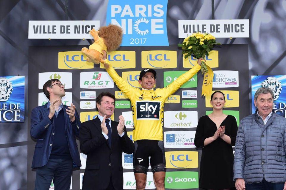 Paris-Nice 2017 - 12/03/2017 - Etape 8 - Nice / Nice (115,5km) - Sergio HENAO MONTOYA (TEAM SKY) - Avec le maillot Jaune