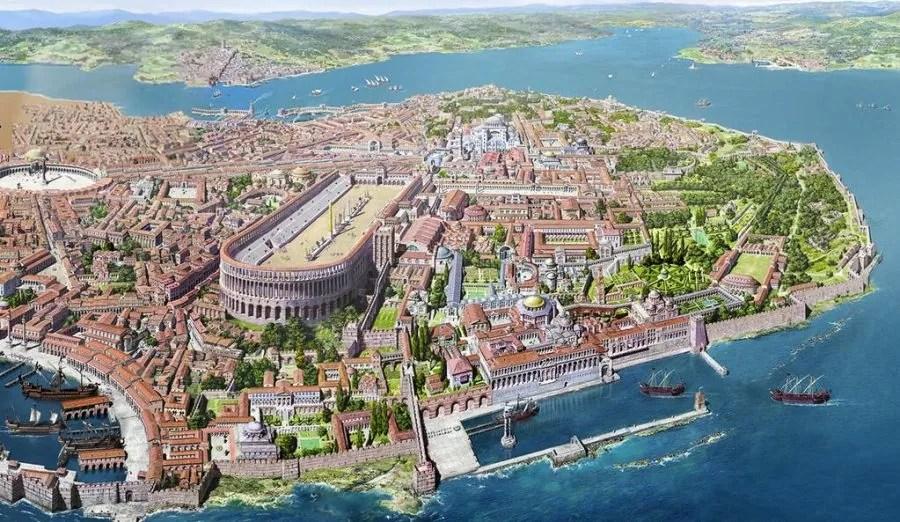 Вид Константинополя и Босфора (VI - VII век н.э - реконструкция )