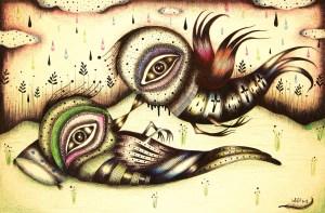 Pajaros, beso y mirada (arte en Facebook)