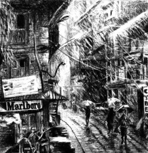 Lineas con trazo (Marlboro ciudad en lluvia)