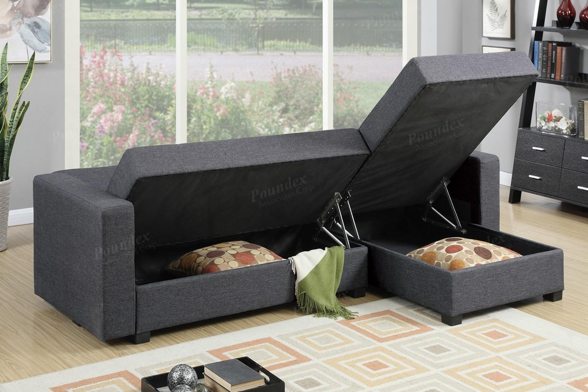 Levon 2pc Sectional With Fold Down And Storage Futons