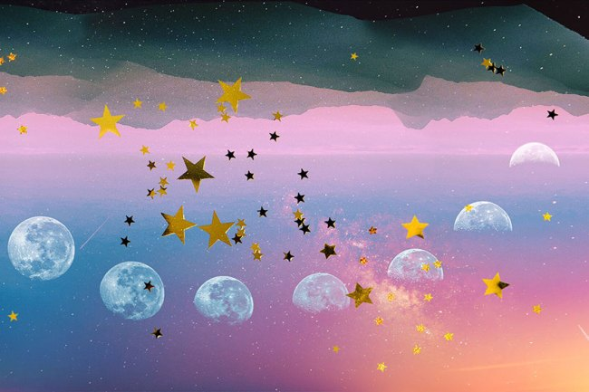 illustration of a sky with stars and various phases of the moon.