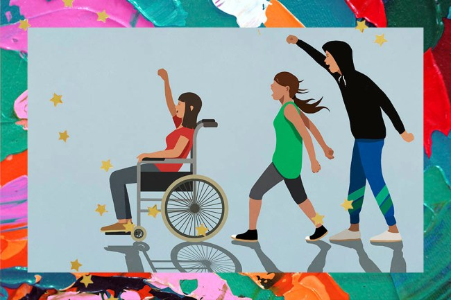 Illustration of three people demonstrating.  The first is a woman in a red T-shirt and a wheelchair.  The second is another woman in a green T-shirt, and finally a man in a black sweatshirt with his arm raised.