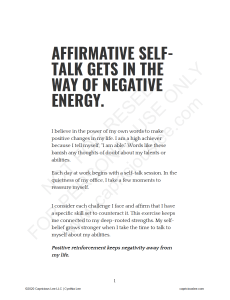 AFFIRMATIVE SELF-TALK GETS IN THE WAY OF NEGATIVE ENERGY