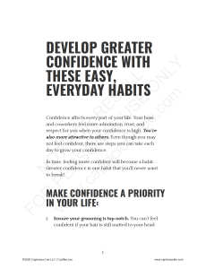 DEVELOP GREATER CONFIDENCE WITH THESE EASY, EVERYDAY HABITS