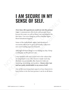 I AM SECURE IN MY SENSE OF SELF