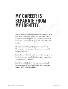 MY CAREER IS SEPARATE FROM MY IDENTITY