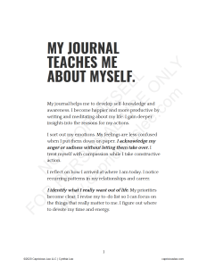 MY JOURNAL TEACHES ME ABOUT MYSELF