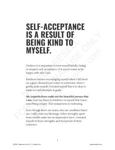 SELF-ACCEPTANCE IS A RESULT OF BEING KIND TO MYSELF
