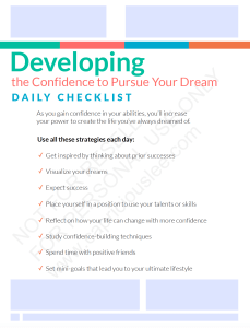 DEVELOPING THE CONFIDENCE TO PURSUE YOUR DREAMS CHECKLIST