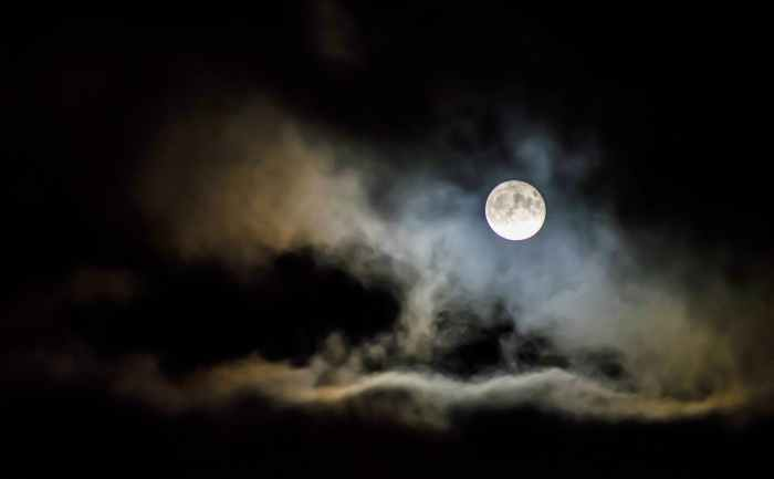 clouds under full moon