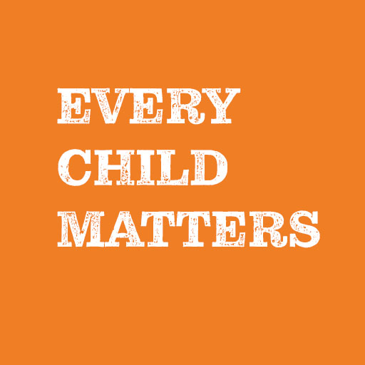 Every Child Matters, White text on Orange background.
