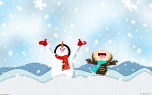 Snowman and child enjoying snow