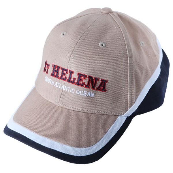 St Helena baseball cap beige & navy with white stripe