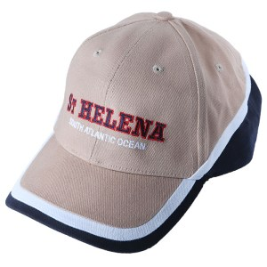 St Helena baseball cap beige & navy with white stripe