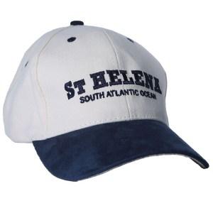 St Helena baseball cap natural & navy suede