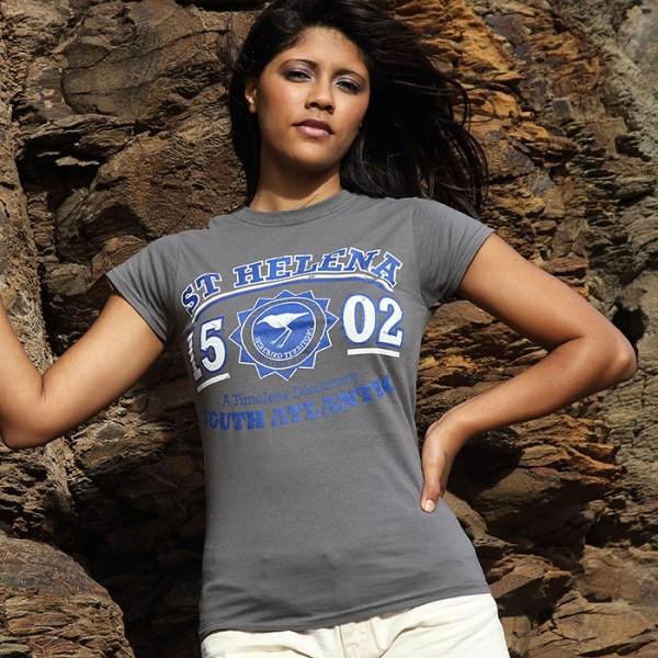 Ladies St Helena t-shirt DC charcoal blue white