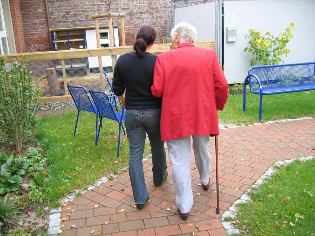 Image of older person being assisted to walk along pathway