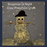 Snowman at Night Easy Craft